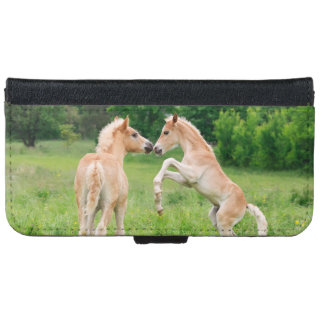 Haflinger Horses Foals Rearing Funny Photo - Wallet Phone Case For iPhone 6/6s