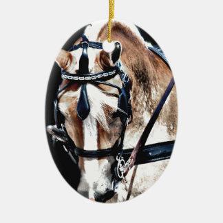 Haflinger Double-Sided Oval Ceramic Christmas Ornament
