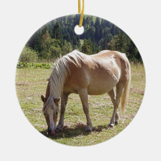 Haflinger Palomino Pony in Green Pasture Photo Ceramic Ornament