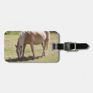 Haflinger Palomino Pony in Green Pasture Photo Luggage Tags