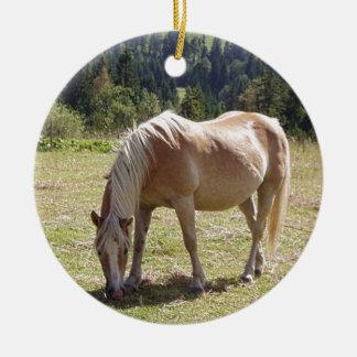 Haflinger Palomino Pony in Green Pasture Photo Ornaments