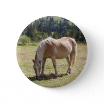 Haflinger Palomino Pony in Green Pasture Photo Pinback Button