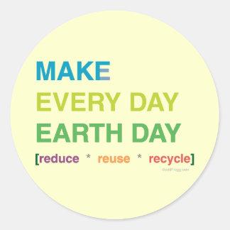 Haga a los pegatinas de cada Día de la Tierra del Etiqueta Redonda