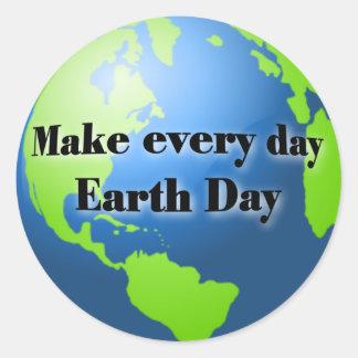 Haga a los pegatinas de cada Día de la Tierra del Pegatina Redonda