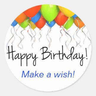 Haga a los pegatinas de un cumpleaños del deseo pegatina redonda