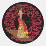 Haga a mi geisha enrrollado etiqueta redonda