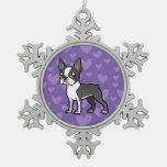 Haga a su propio mascota del dibujo animado adorno de peltre en forma de copo de nieve