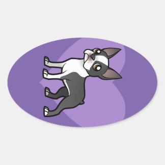 Haga a su propio mascota del dibujo animado pegatina ovalada