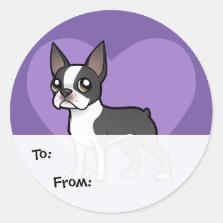 Haga a su propio mascota del dibujo animado pegatina redonda