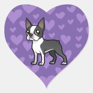 Haga a su propio mascota del dibujo animado pegatina en forma de corazón