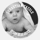 Haga a su propio nuevo bebé personalizado etiqueta redonda