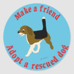 Haga a un amigo - beagle pegatina redonda