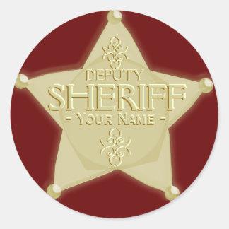 Haga a un ayudante del sheriff con el pegatina de