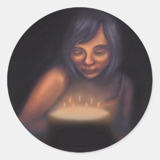 Haga a un chica de las velas de la torta de pegatina redonda