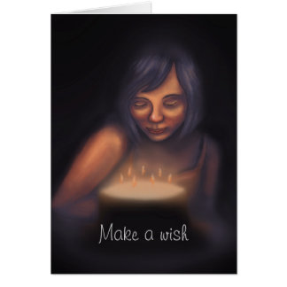 Haga a un chica de las velas de la torta de tarjeta de felicitación
