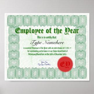 Haga a un empleado del premio de Certicate del año Póster