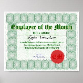 Haga a un empleado del premio de Certicate del mes Póster