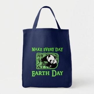 Haga cada Día de la Tierra del día con la panda To Bolsa Tela Para La Compra