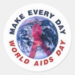 Haga cada Día Mundial del Sida del día Pegatina Redonda