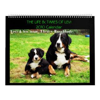 Haga calendarios con Levi el perro de Bernese Mt.