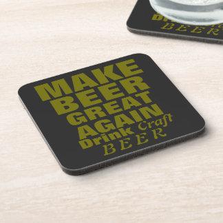 Haga cerveza el gran otra vez texto del oro posavasos de bebida