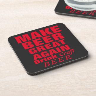 Haga cerveza el gran otra vez texto rojo posavasos