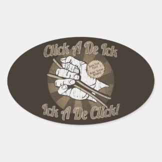Haga clic a un De Bones Brown Pegatina Ovalada