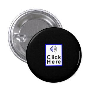 """""""Haga clic aquí"""" la novedad Pin Redondo 2,5 Cm"""