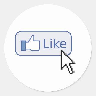 """Haga clic en """"como"""" los pegatinas etiqueta redonda"""