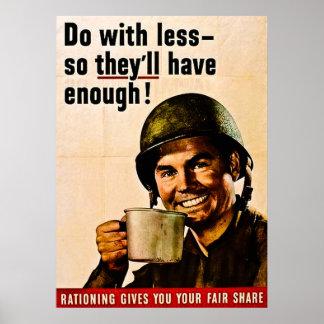 Haga con menos - racionar del vintage WWII Poster