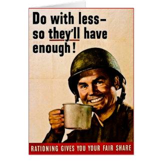 Haga con menos - racionar del vintage WWII Tarjeta De Felicitación