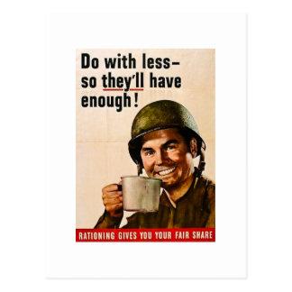 Haga con menos racionar del vintage WWII Tarjeta Postal