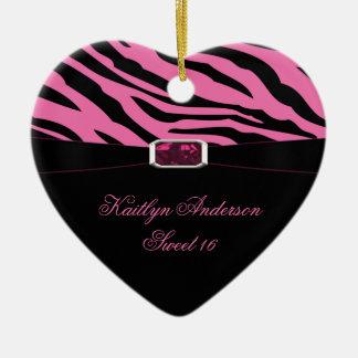 HAGA DE NUEVO el estampado de zebra y el recuerdo Adorno Navideño De Cerámica En Forma De Corazón