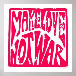 Haga el amor, no guerra - diseño del Hippie para l Póster