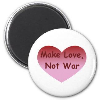 Haga el amor, no guerra imán redondo 5 cm