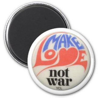 Haga el arte de la paz de la guerra del amor no imán redondo 5 cm