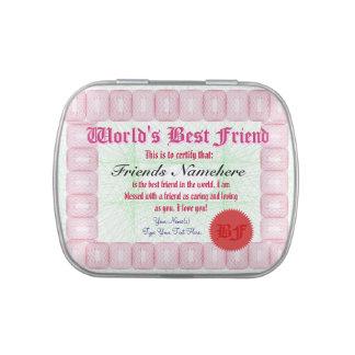 Haga el certificado del mejor amigo de un mundo latas de dulces