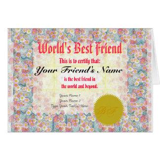 Haga el certificado del mejor amigo de un mundo tarjeta de felicitación