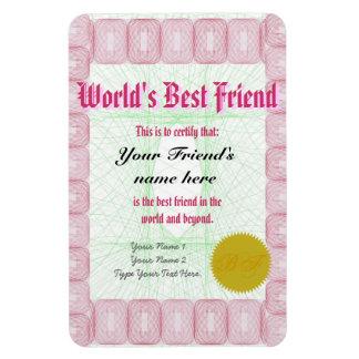 Haga el certificado del premio del mejor amigo de  imán de vinilo
