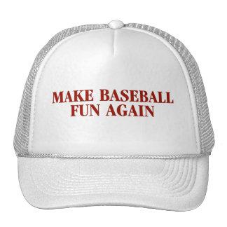 Haga el gorra de la diversión del béisbol otra vez