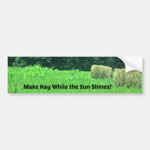 Haga el heno mientras que el Sun brilla Etiqueta De Parachoque