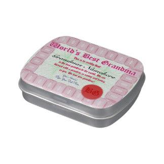 Haga el mejor certificado de la abuela de un mundo jarrones de dulces