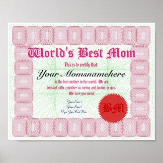 Haga el mejor certificado del premio de la mamá de póster