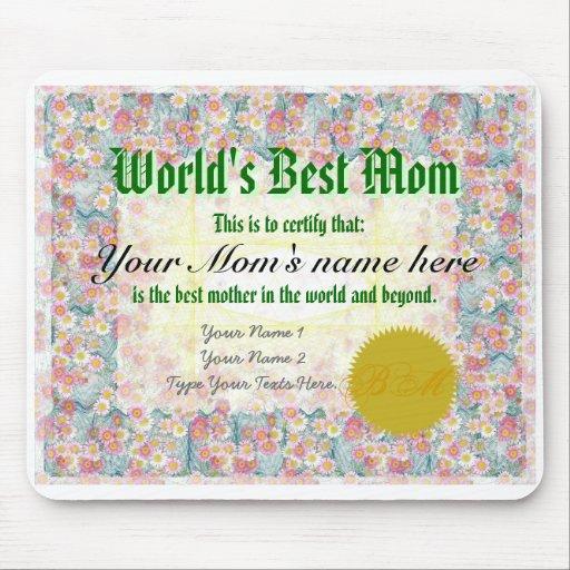 Haga el mejor certificado Mousepad de la mamá de u Alfombrillas De Raton