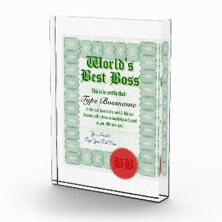 Haga el mejor premio del certificado de Boss de un