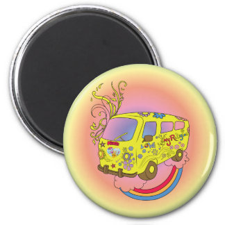 Haga el signo de la paz del Hippie de Van ~ 60s de Imán Redondo 5 Cm