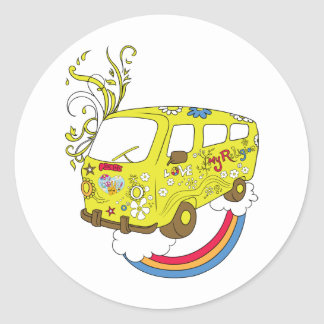 Haga el signo de la paz del Hippie de Van ~ 60s de Pegatinas Redondas