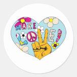 Haga el signo de la paz del Hippie del ~ 60s de la Etiqueta Redonda