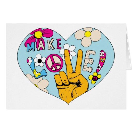 Haga el signo de la paz del Hippie del ~ 60s de la Tarjetón