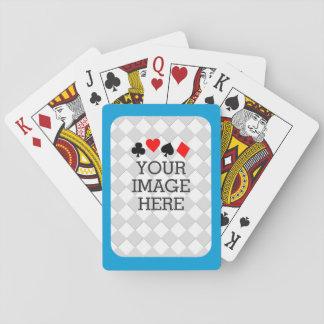 Haga fácilmente sus los propios en un paso en azul barajas de cartas